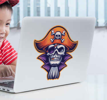 Pirate laptop decal for lovers of it. It is self adhesive and very easy to apply. The design is available in various sizes.