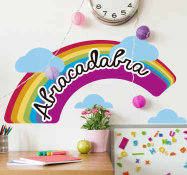 Rainbow children illustrative sticker inscribed with the text ''Abracadabra. It is self adhesive and easy to apply on flat surfaces.