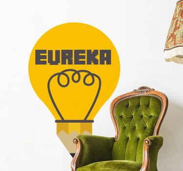 「ユーレカ」の文字が入った黄色の装飾的な電球デカールデザイン。このデザインは、任意のスペースで装飾的です。