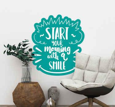 あなたが幸せで一日を始めるのに役立つ装飾的な笑顔の動機付けのテキストデザイン。それは「笑顔で一日を始める」と書かれています。