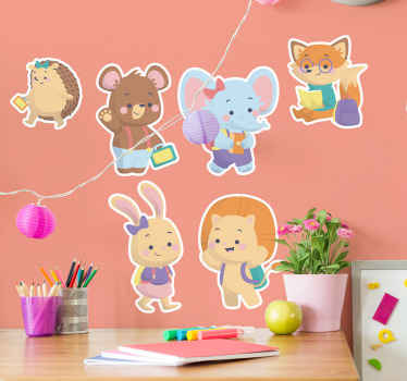 Educational kids wall sticker design created with different baby animals with illustration of a student. The design is available in various sizes.