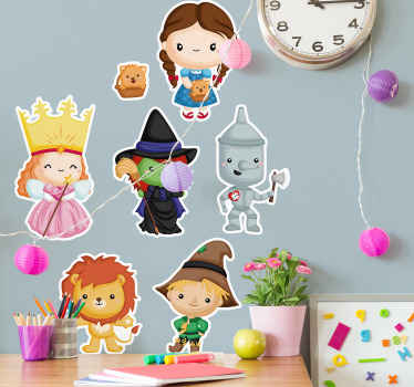Children fantasy wall sticker design of wizard of oz. The design features various kids imitating the character from the novel.