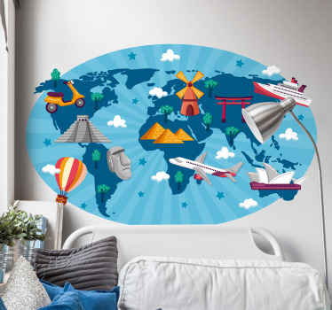Decorative travel world map sticker featured with elements such as air place, boat, ship, air balloon and more. It is available in any size required.