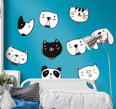 Happy puppies children wall art sticker designed with happy and cheerful smiley faces. A decoration to create a happy atmosphere for children bedroom.