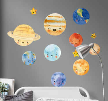 A happy and interesting decorative solar space theme wall sticker for kids designed with fun and happy smiley faces. It is easy to apply.