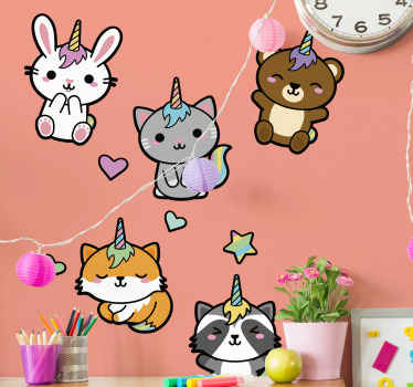 A decorative illustrative kids wall sticker design of baby unicorns.  A design to create a wonderful atmosphere and space for a young ones.