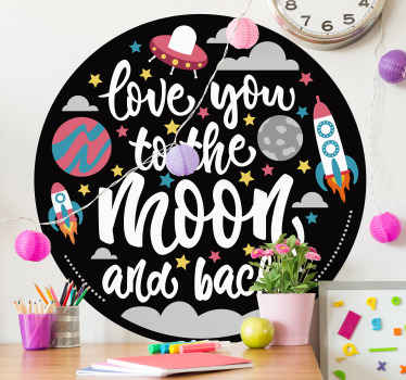 Express your heart and love for your kid with our space theme wall sticker featured with space elements and the text ''Love you to the moon and back'.