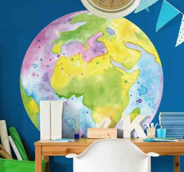ラウンドの背景スタイルで作られた水彩画の世界地図ステッカー。それはあらゆる平らな表面に装飾的であり、適用が簡単です。必要なサイズでご利用いただけます。