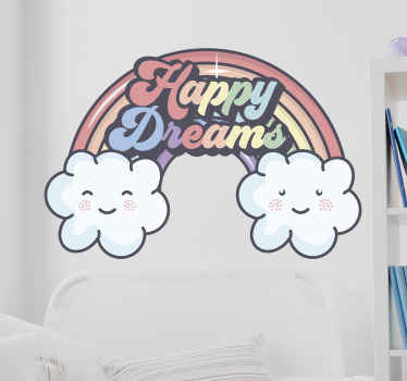 Illustrative rainbow wall sticker for children. The design is ideal for kids room decoration, it is featured with rainbow lines, smiley icon and text.
