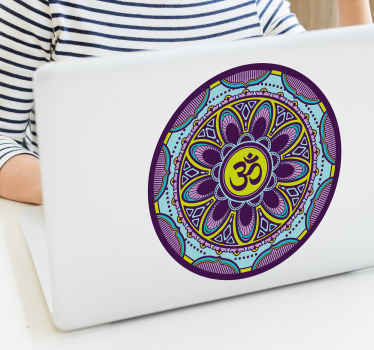 A mandala ornamental laptop sticker to beautify a laptop device. This design is created in multicolored style and it is easy to apply.