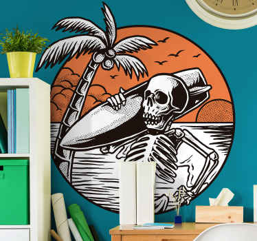 A surf wall sticker that illustrates a dead surfer, a comic surfing wall sticker. It is available in any required size and it is easy to apply.