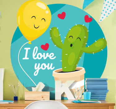 Illustrative children wall sticker decoration made with a cactus plant design with smiley emoji. It is easy to apply and made of high quality.