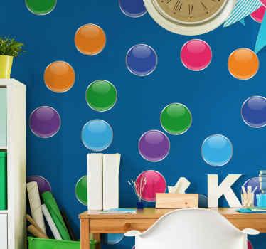 Zasnova stenske nalepke geometrijske oblike, izdelana v različnih barvah. Je ljubka za dekoracijo spalnice za otroke. Je enostaven za nanašanje in dobre kakovosti.