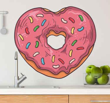 キッチンの装飾のためのハート形のドーナツの装飾的な食品壁アートデカールデザイン。適用が簡単で高品質です。