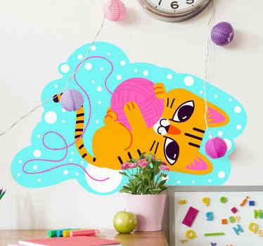 子供のためのかわいい猫の動物の壁の芸術のステッカー。面白いタッチでどんな子のスペースも美しくする楽しい猫のデザイン。