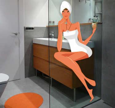 Sticker badkamer vrouw met handdoek