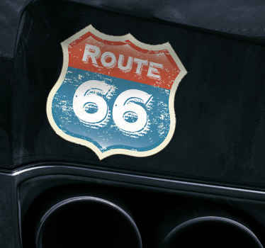 Route 66 traffic sign car sticker design for any vehicle space. It is easy to apply and available in any size required..