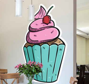 Cupcake food vinyl sticker for your kitchen space. A yummy looking design to create an appetite for an ice cream and food from your kitchen.