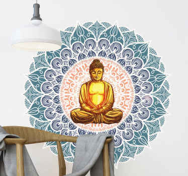 An art wall decoration for your space, a round ornamental flower design with a Chakra Buddha on it middle. It is easy to apply and of high quality.
