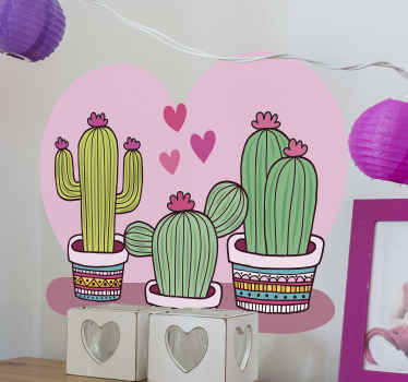 Cactus plant vinyl sticker decoration to beautify your space with the touch of nature. It is easy to apply and made of high quality vinyl.