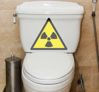 Bathroom Stickers - Radioactive sign illustration for the toilet. Amusing and playful design for your toilet.