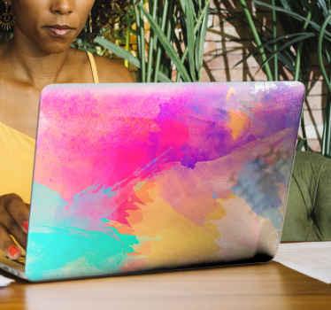 Original vinilo para laptop con mosaico multicolor de acuarelas para que decores tu ordenador de forma original ¡Envío exprés!