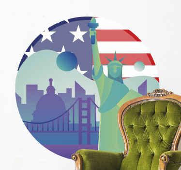 Adesivo murale decorativo con skyline di new york con elementi e struttura simbolici della città. è di facile applicazione e disponibile in diverse dimensioni.