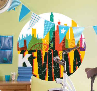 """Maravilloso vinilo de skyline de Sevilla multicolor con edificios en tonos acuarela y el texto """"Sevilla"""". Elige las medidas ¡Compra online!"""