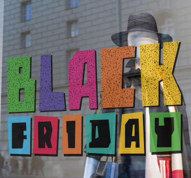Colourful black Friday window sticker