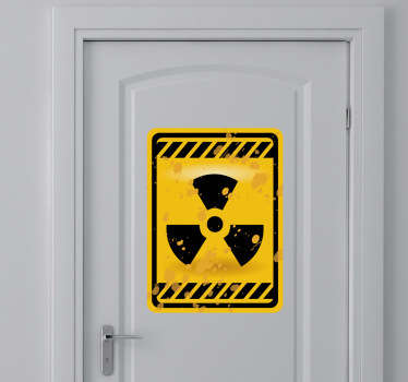 Radioactive sign door sticker illustration for the door of your toilet, bedroom or bathroom. Amusing and eye-catching yellow and black design to act as a warning for anyone who enters the room.