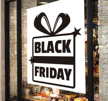 Raamstickers black friday in cadeau
