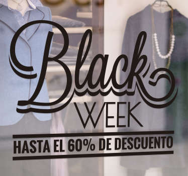 Vinilo decorativo personalizable Black Week Descuento Hasta