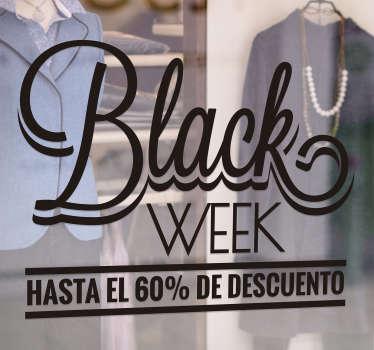 Vinilo frase Black Week Descuento Hasta