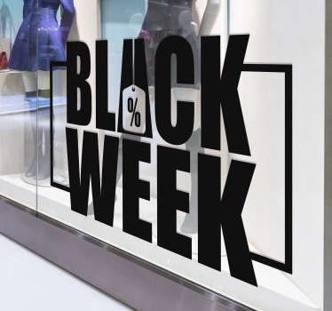 Vinilo texto Black week para escaparate