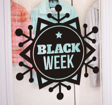 Snow flake black week sale window sticker