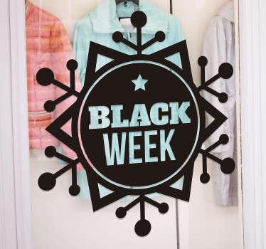 Snow flake black week  sale sticker