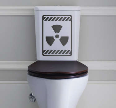 Bathroom Stickers - Radioactive sign illustration for your toilet. Amusing and playful design. Zero residue upon removal.