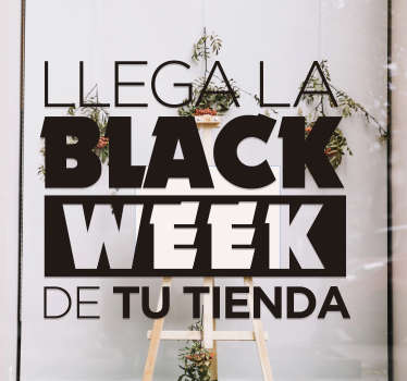 Vinilo frase llega black week para escaparte