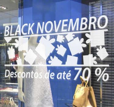 """Vinil autocolante decorativo para montras """"Black Novembro"""" com um estilo alusivo à época natalícia."""