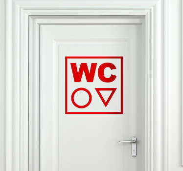 Bathroom Stickers - WC toilet sign to place on the door of the toilet representing both sexes. Cool minimalist design shows just two shapes to represent which bathroom is which. Monochrome design available in various sizes and 50 different colours.