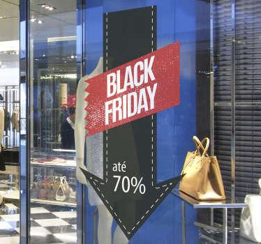 Autocolante de vinil de janela para montras para promover vendas da próxima Black Friday. Medidas personalizáveis.