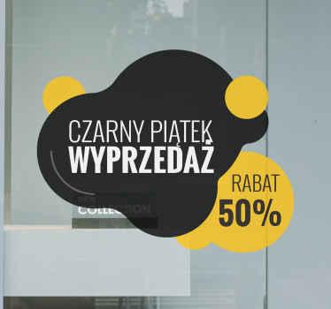 Dekoracyjna i łatwa w nakładaniu naklejka na okno sklepowe, przedstawiająca tekst informujący o wyprzedaży na kolorowym tle!