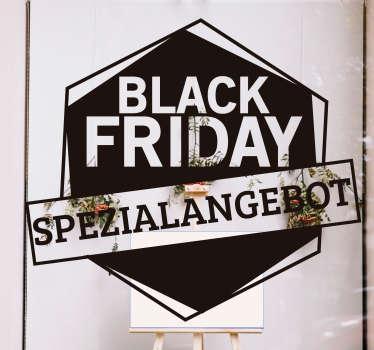"""Kaufen sie unser einfach aufzutragendes shop-front-Aufkleber für black friday-verkäufe auf geometrischem hintergrund mit dem text """"black friday-sonderangebot""""."""