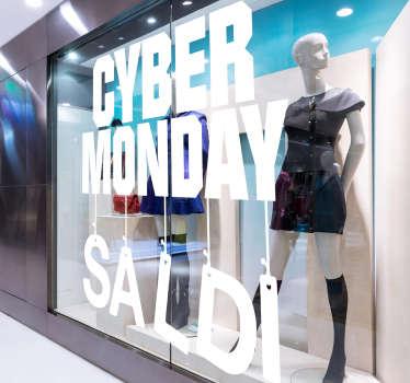 Scritte saldi per vetrine cyber monday