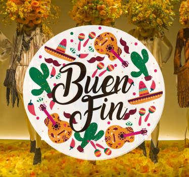 """Vinilo para escaparate formado por el texto """"Buen Fin"""" acompañado de diferentes elementos mexicanos. Descuentos para nuevos usuarios."""