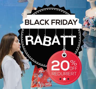 Dieser schöne Schaufenster Aufkleber weist auf Black Friday Rabatte hin. Er ist hochwertig, in verschiedenen Größen erhältlich und personalisierbar.