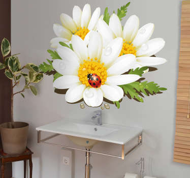 Vinilo decorativo flores y mariquita