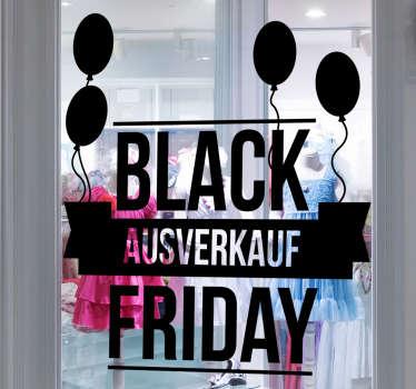 Dieser schöne Rabatt Aufkleber für den Black Friday ist perfekt für Ihr Schaufenster. In höchster Qualität und ganz nach Ihren Vorstellungen.