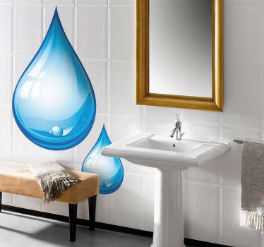 Droppar vatten vägg klistermärke