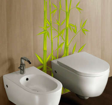 Bathroom Stickers - Bamboo leaves as a toilet sticker. Decorative vinyl stickers that are easy to apply.